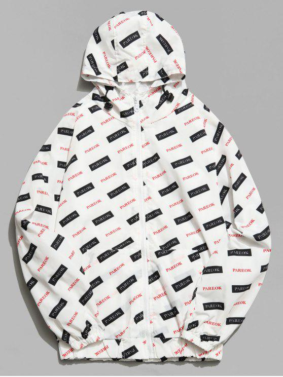 trendy Graphic Mesh Lined Zip Hooded Jacket - WHITE 2XL