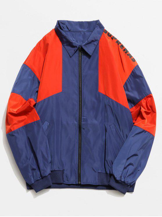 Color Block Grafik Zip Front Jacke - Kadettenblau 2XL