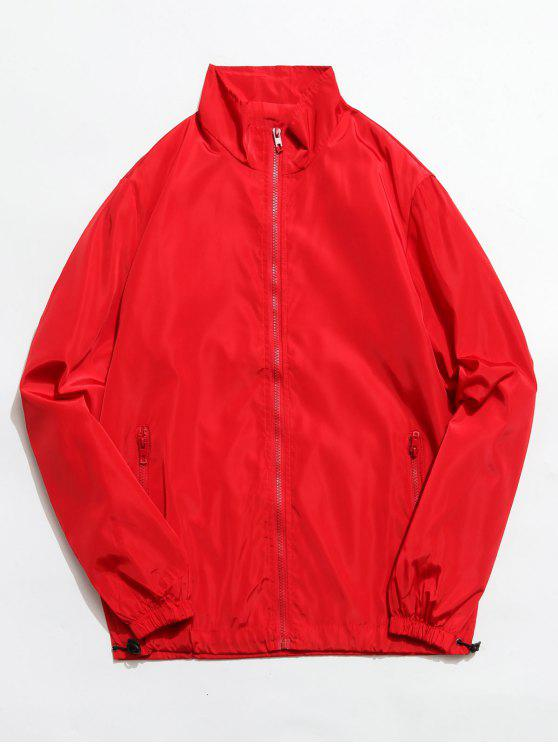 buy Stand Collar Zip Front Pockets Jacket - RED XS