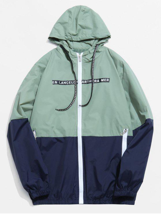 best Color Block Graphic Hooded Jacket - GREEN S