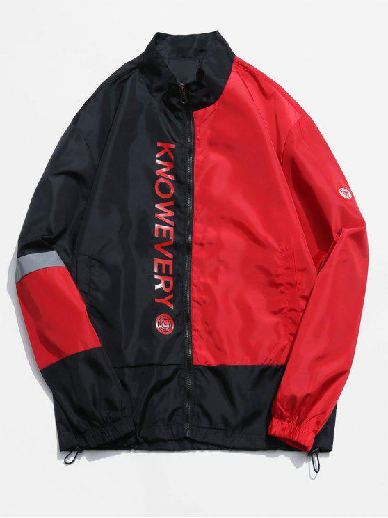 new Letter Print Hit Color Splicing Jacket - LAVA RED 2XL