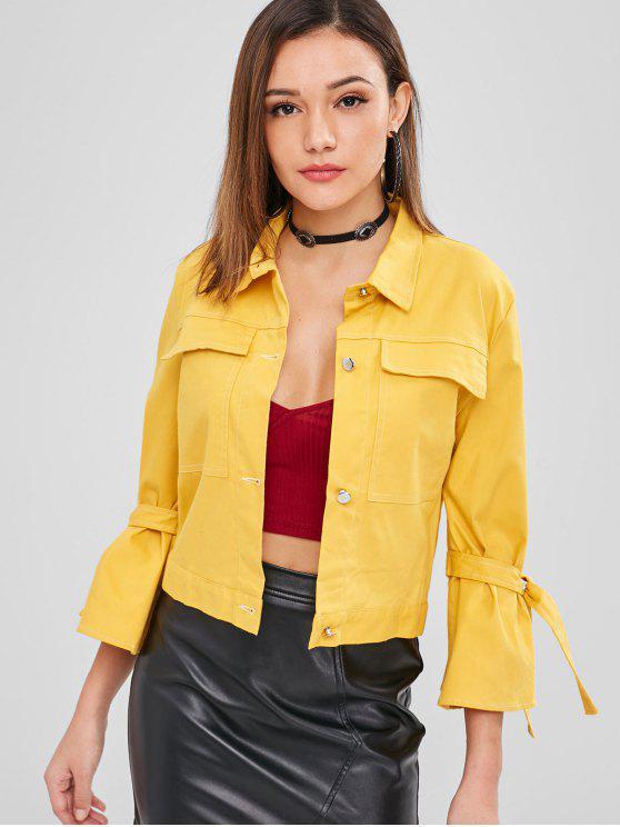 women ZAFUL Pocket Tie Sleeve Boxy Jacket - YELLOW S