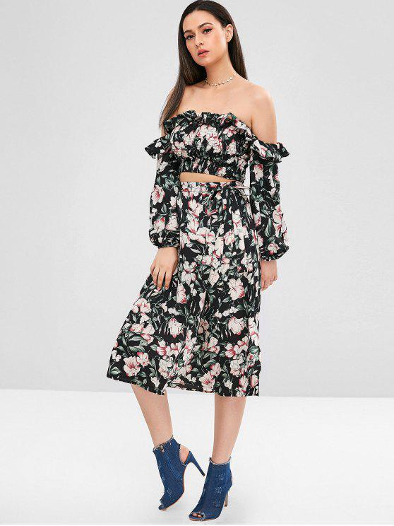 chic ZAFUL Floral Smocked Top and Skirt Set - MULTI S
