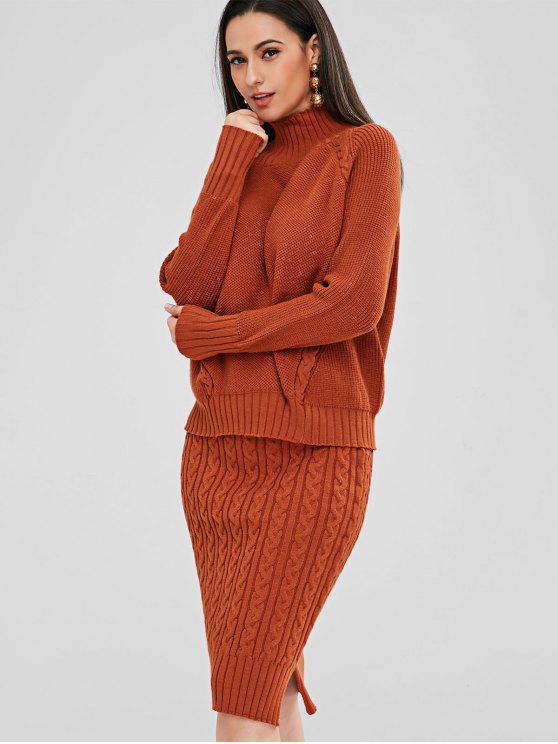 Maglione Con Collo Alto E Gonna In Maglia - Arancione Tigre Taglia unica