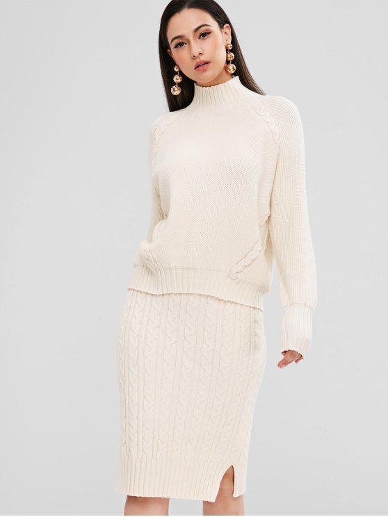 7b2b5be2e80 outfit Turtleneck Cable Knit Sweater And Skirt Set - WARM WHITE ONE SIZE