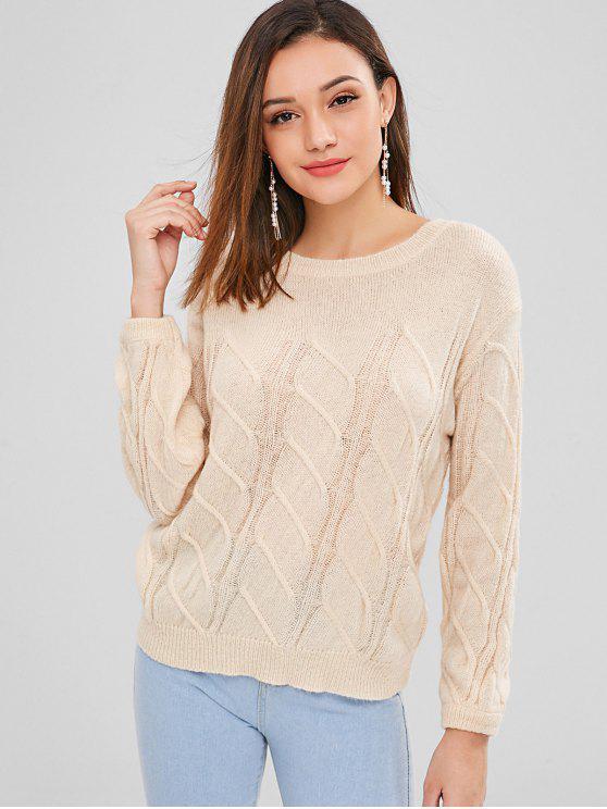 trendy Crew Neck Cable Knit Pullover Sweater - CORNSILK ONE SIZE