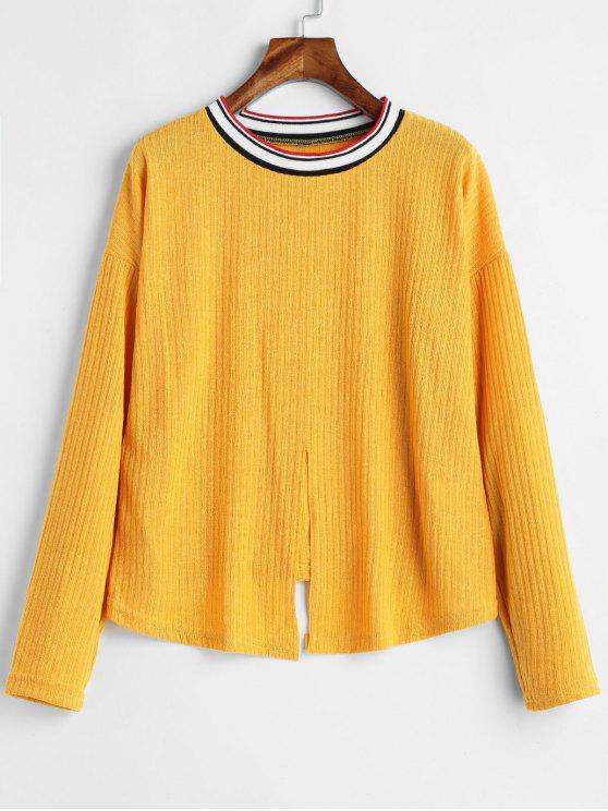 Camiseta de bainha com nó listrado - Amarelo Brilhante L