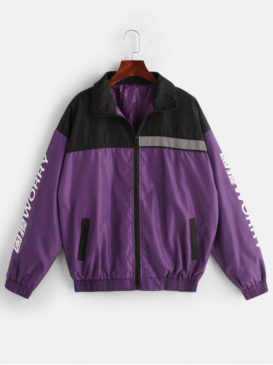 lady Color Block Windbreaker Graphic Jacket - VIOLA PURPLE XL