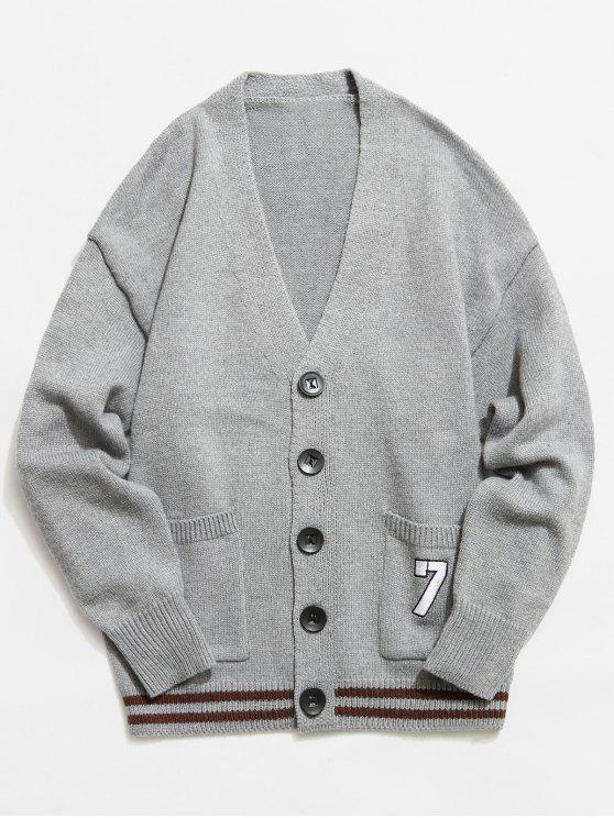 unique Button Fly V Neck Knitted Cardigan - GRAY L