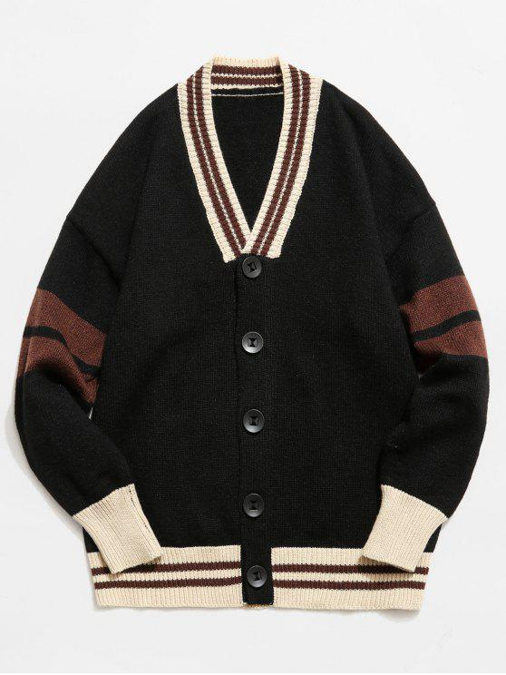 women Color Block Button Fly Knitted Cardigan - BLACK M