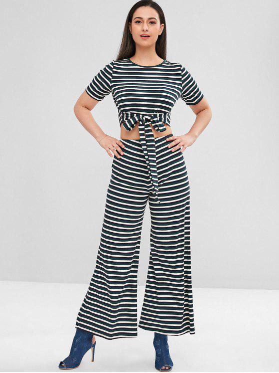 shops ZAFUL Striped Tee and Wide Leg Pants Set - MULTI L