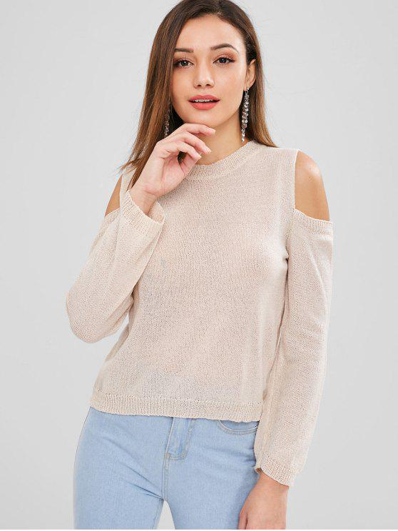 lady Plain Cold Shoulder Sweater - CHAMPAGNE ONE SIZE