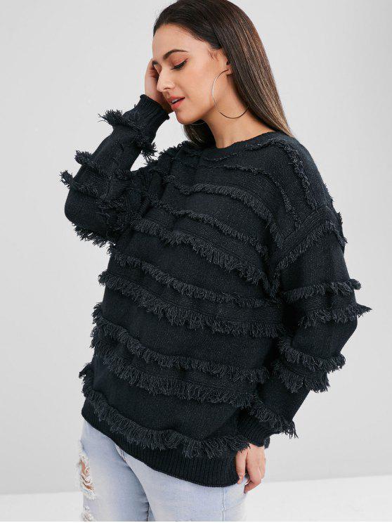 Maglione Pullover Plus Size Con Frange - Nero Taglia unica