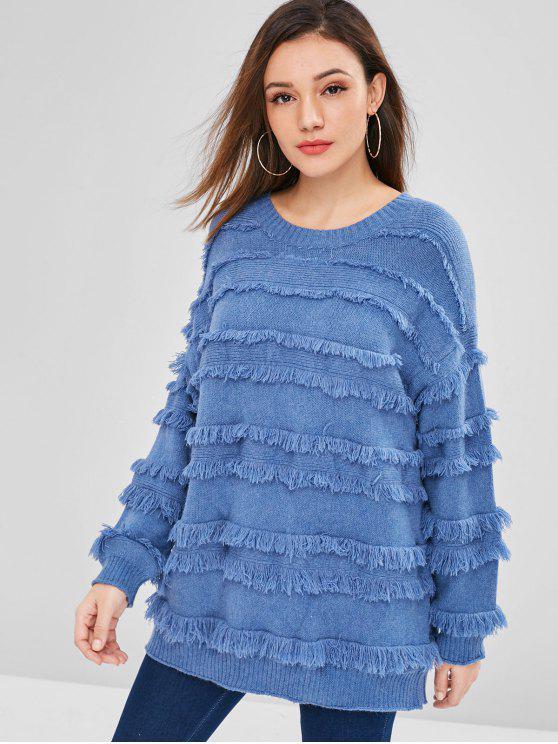 Maglione Pullover Plus Size Con Frange - Blu  Seta Una Taglia