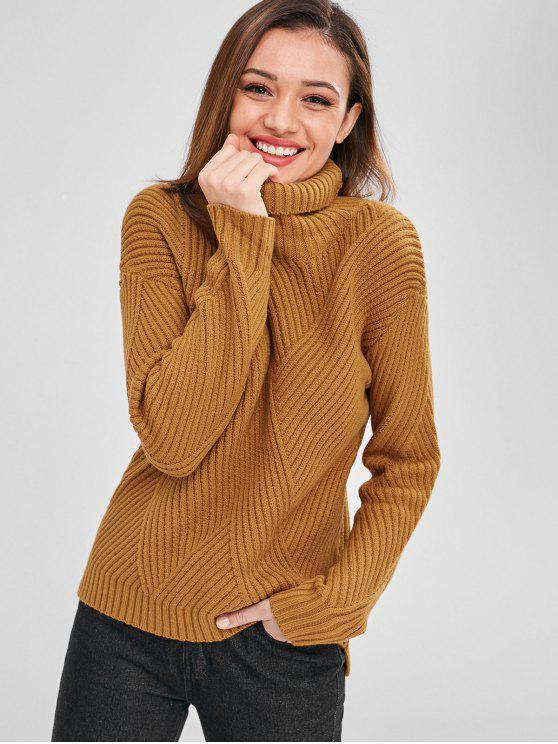unique High Low Turtleneck Sweater - CARAMEL ONE SIZE