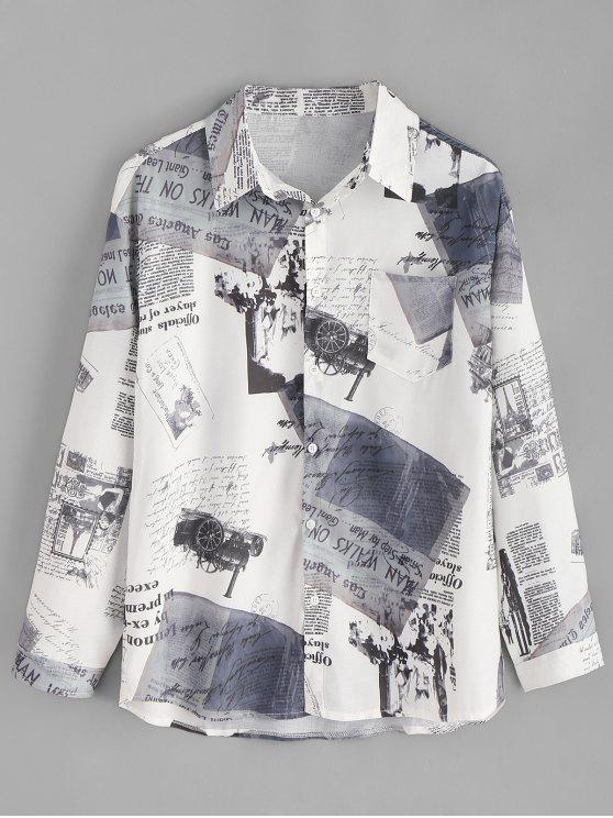 ريترو صحيفة طباعة زر حتى القميص - أبيض XL