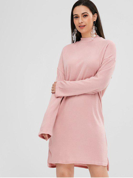 womens Side Slit High Low Dress - PINK L