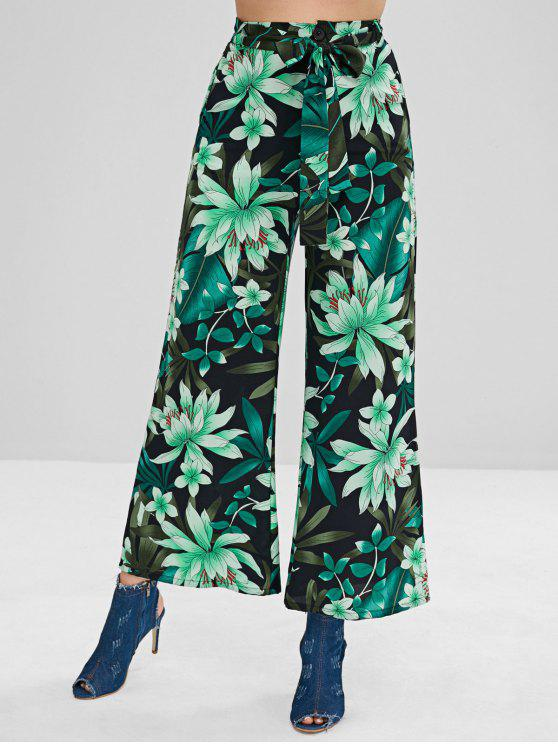 hot Plant Print Belt Palazzo Pants - MULTI L