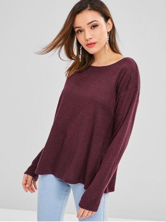 T-shirt Lâche Ajusté en Couleur Unie - Marron Velours L