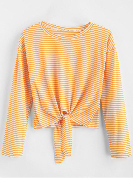 T-shirt à manches longues à rayures nouées - Jaune Canard Caoutchouc XL
