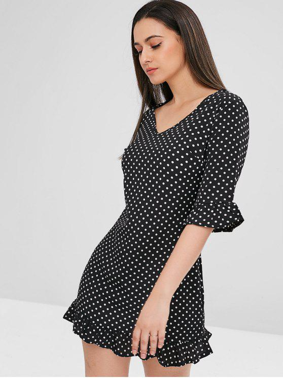 Mini robe à pois à volants - Noir XL