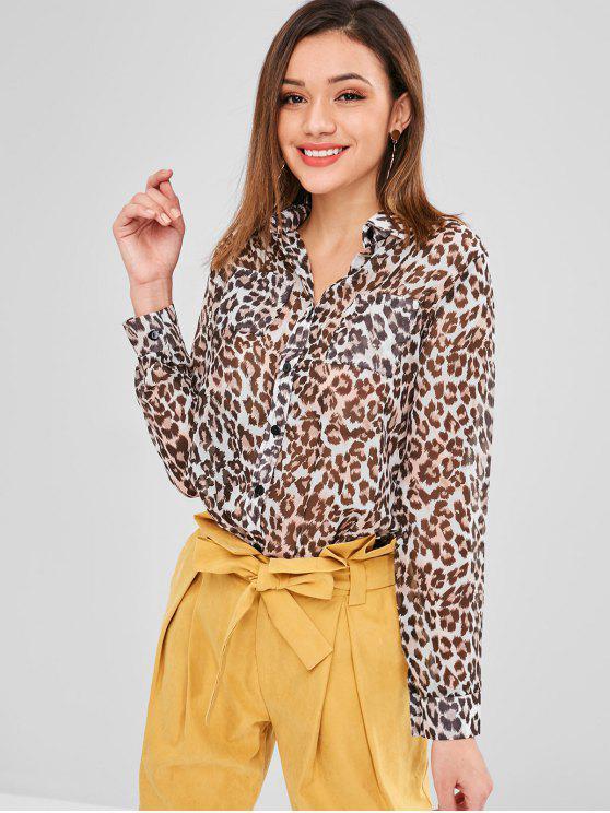 Chemise imprimée léopard semi transparente - Léopard XL