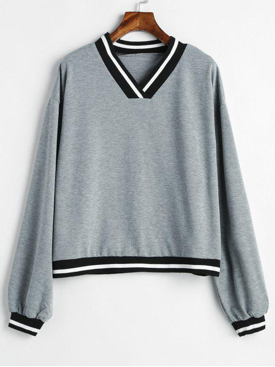 outfit V Neck Striped Loose Sweatshirt - GRAY M