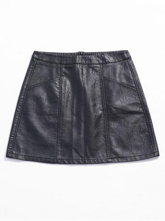 Mini Jupe Faux Cuir avec Poche - Noir S