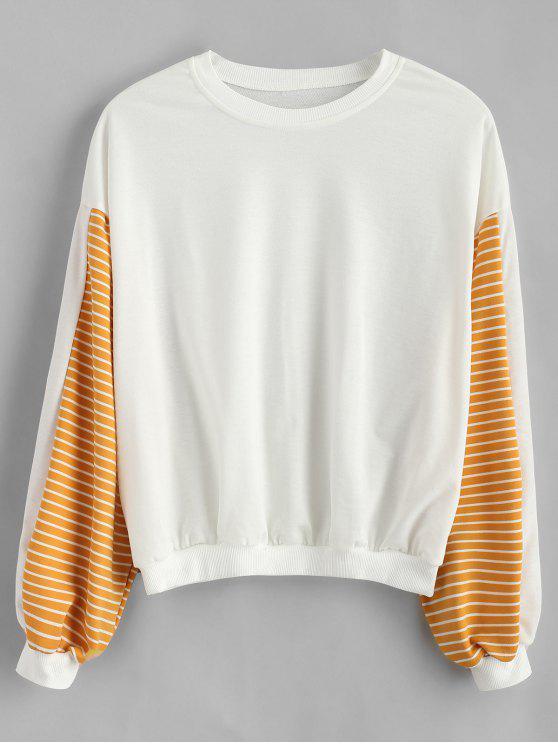Sweat-shirt Lâche Rayé à Manches Lanternes - Blanc S