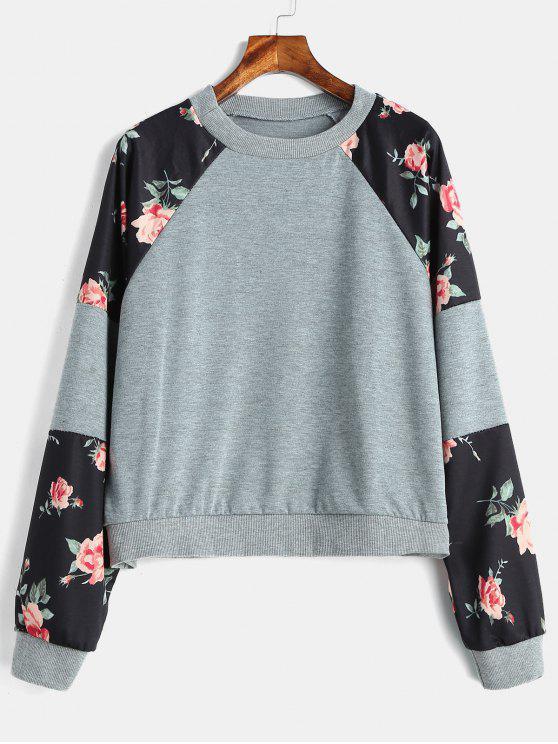 Sweat-shirt Floral Graphique à Manches Raglan - Gris M