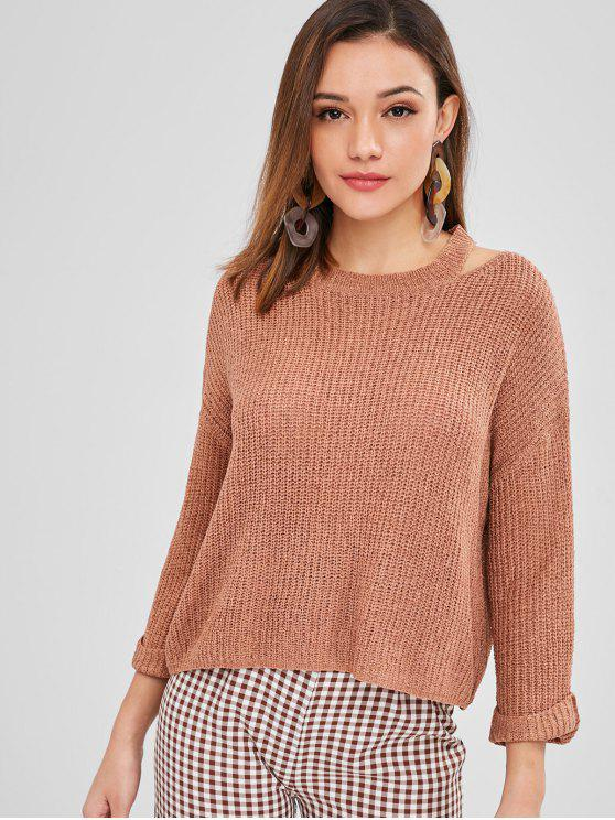 37 Off 2018 Rolled Up Sleeve Cut Out Sweater In Brown One Size Zaful