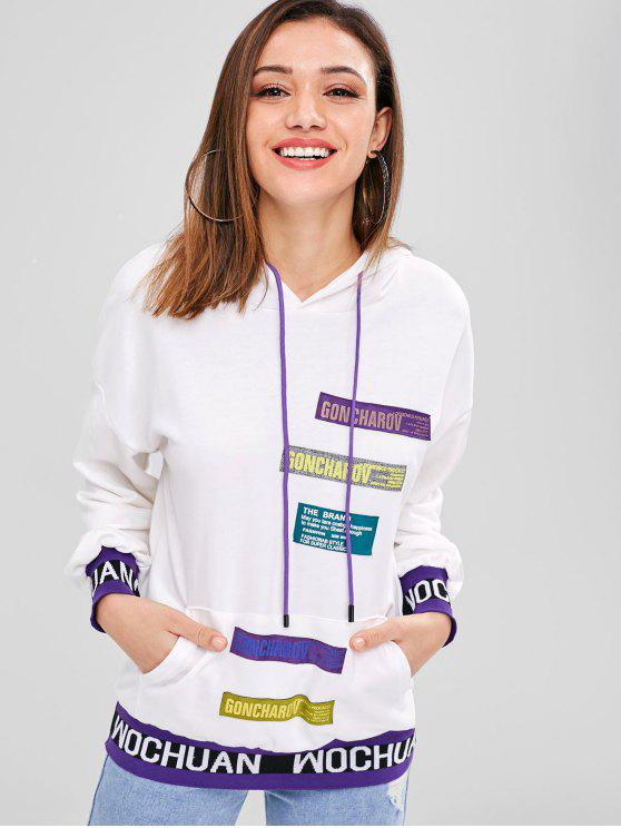 Sweat-shirt à capuche avec poche devant - Blanc Taille Unique