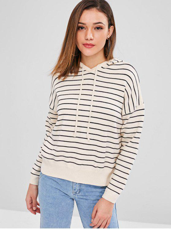 online Striped Loose Hooded Sweater - BEIGE ONE SIZE