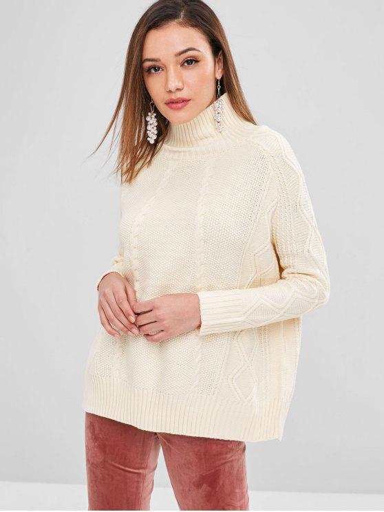 hot High Neck Cable Knit Sweater - CREAM ONE SIZE