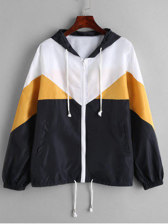 outfit Color Block Hooded Windbreak Jacket - YELLOW L