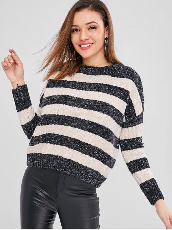 women's Striped Loose Sparkle Sweater - BLACK ONE SIZE