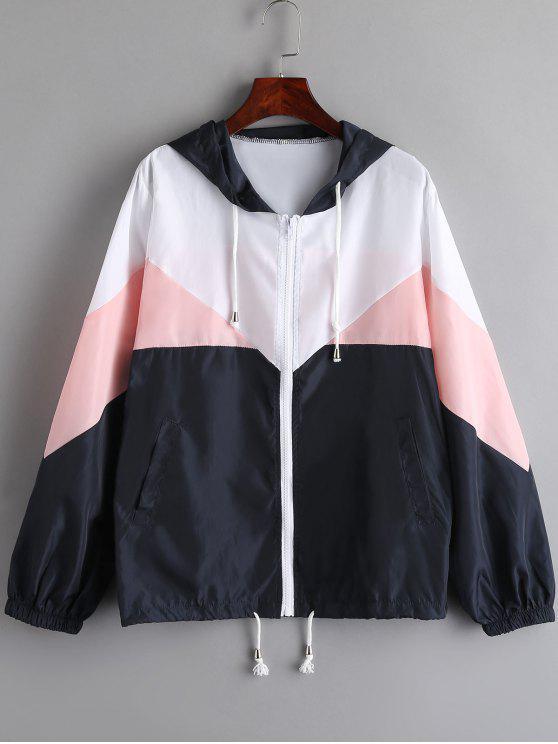 women Color Block Hooded Windbreak Jacket - PIG PINK XL