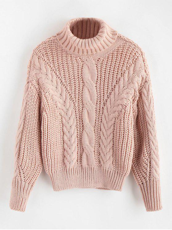 hot Turtleneck Chunky Cable Knitted Sweater - PINK ONE SIZE