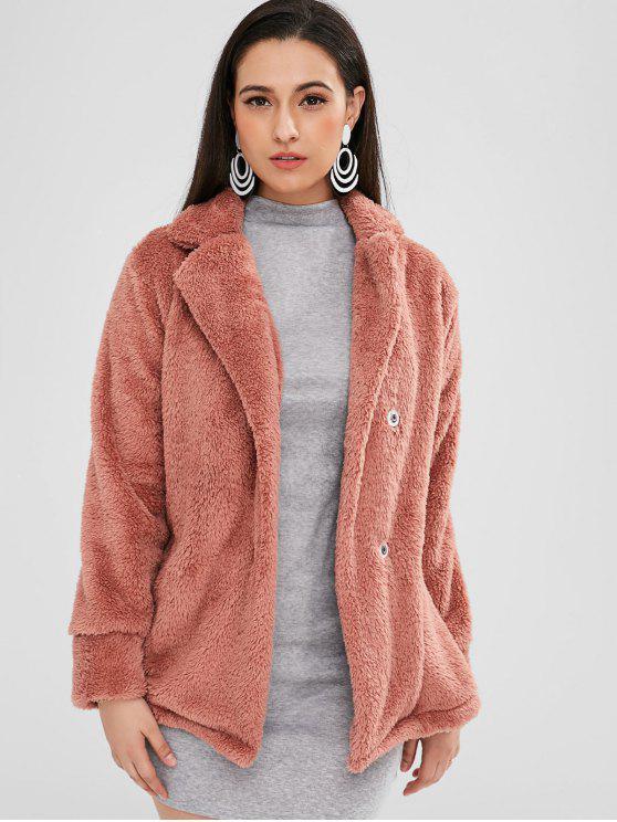 زر المفاجئة سهل معطف الفرو - أحمر الشفاه الوردي S