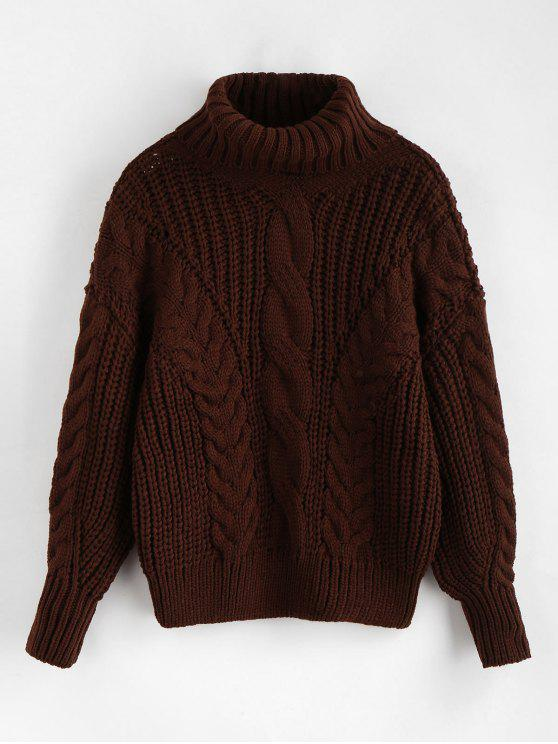fancy Turtleneck Chunky Cable Knitted Sweater - DEEP COFFEE ONE SIZE