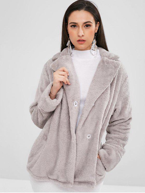 زر المفاجئة سهل معطف الفرو - رمادي فاتح L