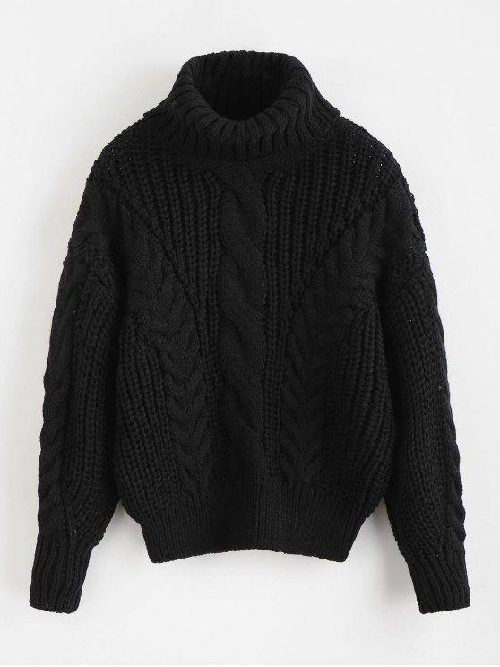 hot Turtleneck Chunky Cable Knitted Sweater - BLACK ONE SIZE
