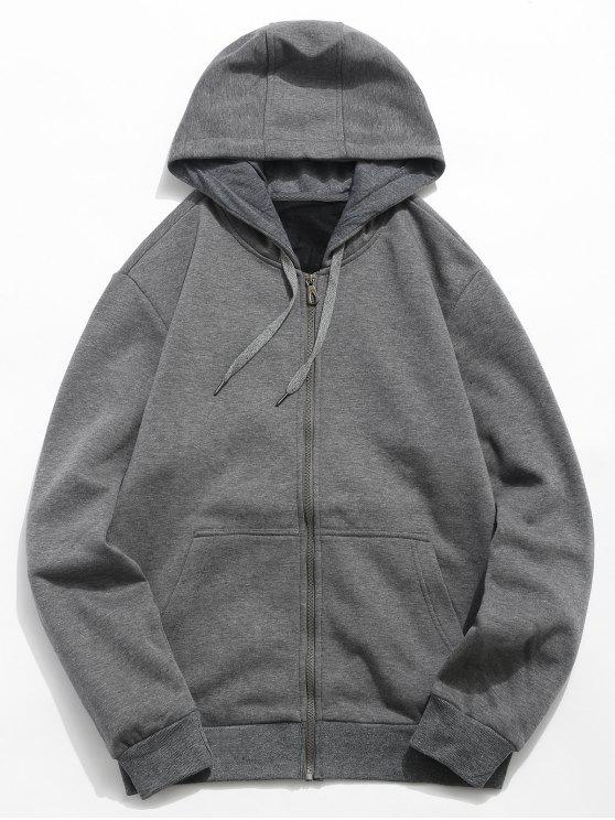 trendy Solid Color Hooded Jacket - DARK GRAY M