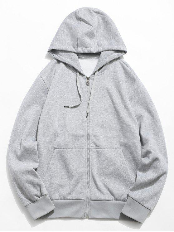 unique Solid Color Hooded Jacket - LIGHT GRAY S