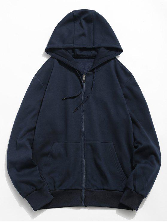 buy Solid Color Hooded Jacket - DARK SLATE BLUE S