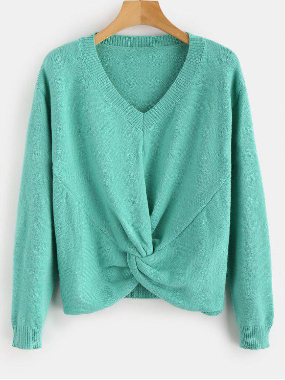 buy Front Twist V Neck Sweater - LIGHT SEA GREEN ONE SIZE