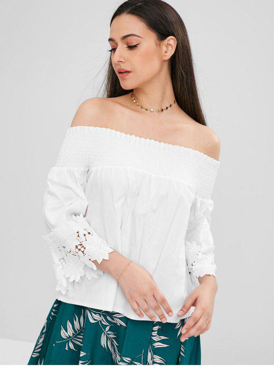 f75d689662381f 30% OFF  2018 Smocked Off The Shoulder Flare Sleeve Top In WHITE S ...