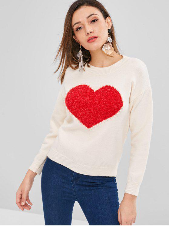 best ZAFUL Heart Pearly High Low Sweater - WARM WHITE ONE SIZE