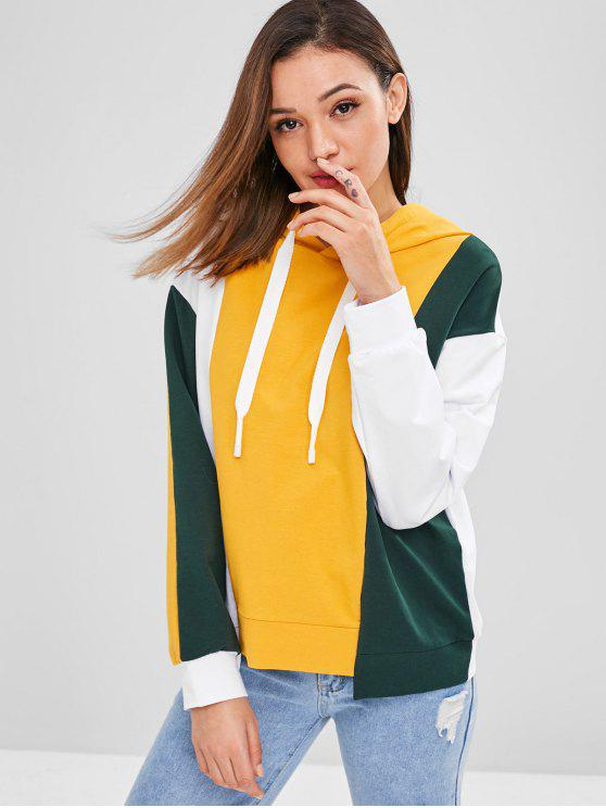 shops ZAFUL Cutout Color Block Hoodie - MULTI ONE SIZE