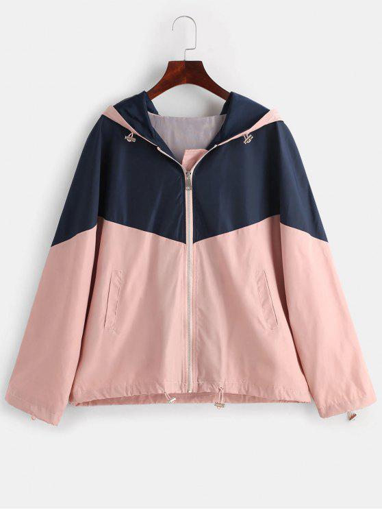 shop Two Tone Hooded Windbreaker Jacket - MULTI XL